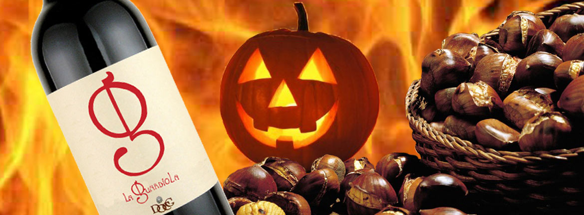 Roasted chestnuts and wine in the Halloween's night-0